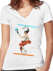 Portal 2 fanart  Women's Fitted V-Neck T-Shirt