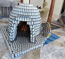 Canstruction, Igloo, Sculpture Made of Food Cans, World Financial Center, New York City by lenspiro