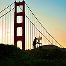 Artist painting the Golden Gate Bridge by Kathleen Murtagh