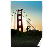 Artist painting the Golden Gate Bridge Poster