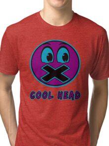 Cool Head Purple And Teal Tri-blend T-Shirt