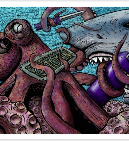 Giant Pacific Octopus versus Great White Shark Sticker