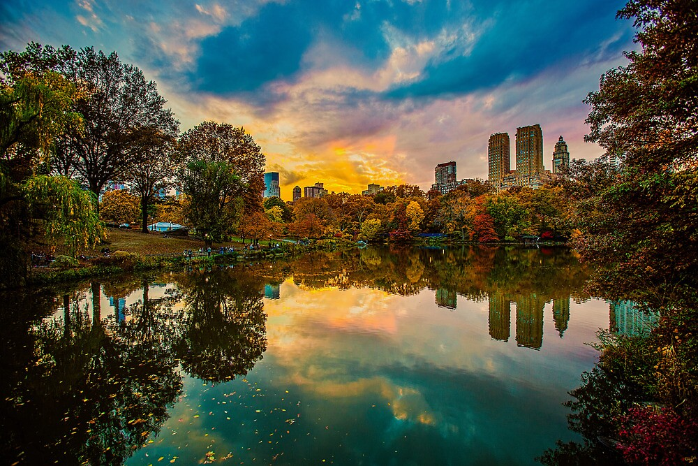 Autumn Sunset From Bow Bridge by Chris Lord