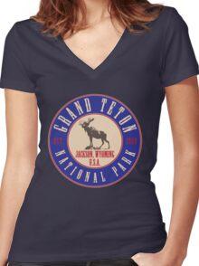 Grand Teton National Park Women's Fitted V-Neck T-Shirt
