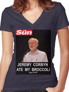 Jeremy Corbyn ate my broccoli Women's Fitted V-Neck T-Shirt