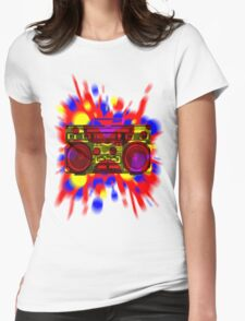 Graphic Boombox Artwork by Bill Tracy Womens Fitted T-Shirt