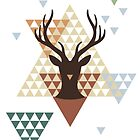 Christmas deer with abstract geometric pattern by beakraus
