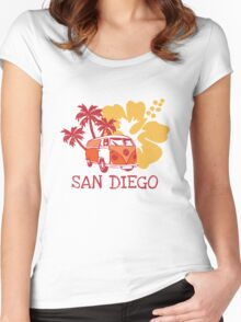 Retro San Diego Beach Scene Women's Fitted Scoop T-Shirt