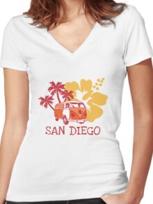 Retro San Diego Beach Scene Women's Fitted V-Neck T-Shirt