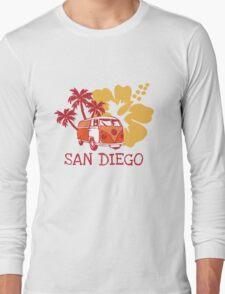 Retro San Diego Beach Scene Long Sleeve T-Shirt