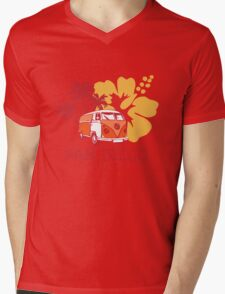 Retro San Diego Beach Scene Mens V-Neck T-Shirt