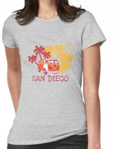 Retro San Diego Beach Scene Womens Fitted T-Shirt