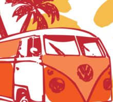 Retro San Diego Beach Scene Sticker
