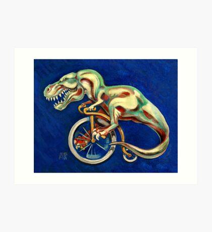 Tyrannosaurus on a Bicycle Art Print