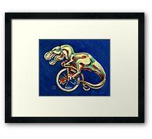 Tyrannosaurus on a Bicycle Framed Print