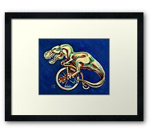 Tyrannosaurus on a Bicycle Framed Print