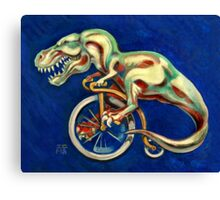 Tyrannosaurus on a Bicycle Canvas Print