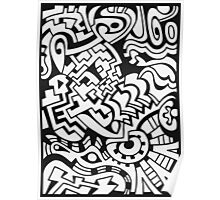 Black and white doodle graffiti Poster