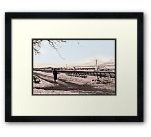Woman In The Snow - East River  Framed Print