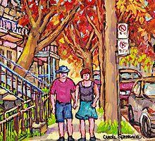 MONTREAL LATE SUMMER SCENE STROLLING ON TREE-LINED VERDUN STREET by Carole  Spandau