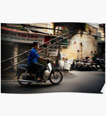 Ladders, Motobikes, & Cigarettes: Streets of Hanoi, Vietnam Poster