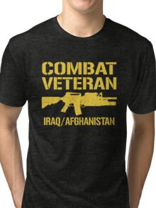 Combat Veteran Iraq and Afghanistan (Vintage Distressed) Tri-blend T-Shirt