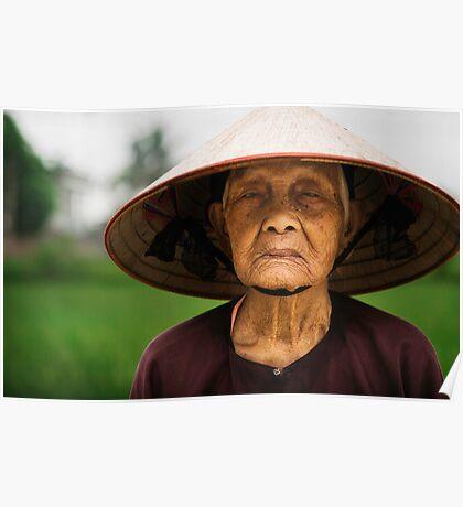Pensive: Rice Farmer in Small Villiage, Vietnam Poster