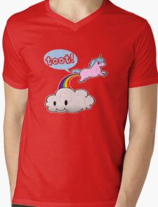 Toot! Cute Unicorn Fart (Vintage Distressed Design) Mens V-Neck T-Shirt