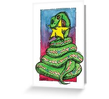 kmay xmas green snake star Greeting Card