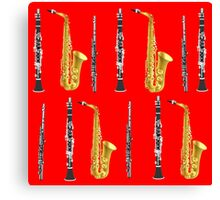 Instruments with a Red Background Holiday gift idea Canvas Print