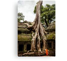 Overgrown Temple: Monk at Angkor Thom, Cambodia Canvas Print