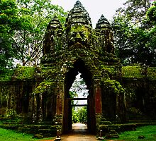 Guarded Gate: Heads at Angkor Thom, Cambodia by thewaxmuseum