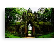 Guarded Gate: Heads at Angkor Thom, Cambodia Canvas Print