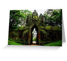Guarded Gate: Heads at Angkor Thom, Cambodia Greeting Card