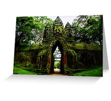 Guarded Gate: Heads at Angkor Thom, Cambodia Greeting Card