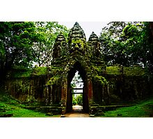 Guarded Gate: Heads at Angkor Thom, Cambodia Photographic Print