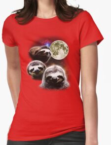 Funny Space Sloths  Womens Fitted T-Shirt