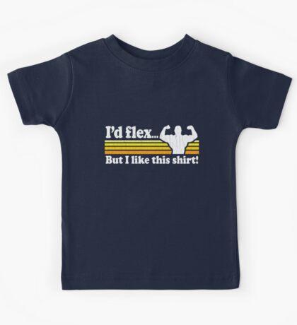Funny! I'd Flex But I Like This Shirt (Vintage Distressed) Kids Tee