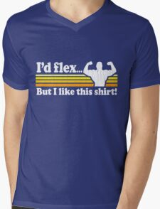 Funny! I'd Flex But I Like This Shirt (Vintage Distressed) Mens V-Neck T-Shirt