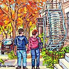 MONTREAL AUTUMN STREET STROLLING NEAR WINDING STAIRCASE by Carole  Spandau