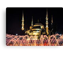 Illuminated: Blue Mosque at Night in Istanbul, Turkey  Canvas Print