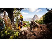 Smokin' Rasta: Hiking up the Pitons, St. Lucia Photographic Print