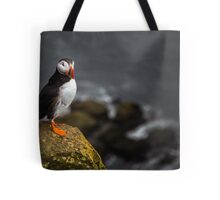 Wild Birds: Puffin on a Cliff, Iceland Tote Bag