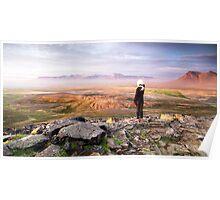 Midnight Sun: Borgarvirki Mountain Landscape, Iceland Poster