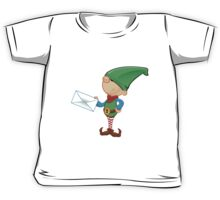 Elf Character - Holding A Letter Kids Tee