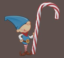 Elf Character - Holding Candy Cane Kids Clothes