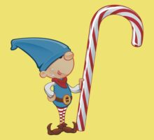 Elf Character - Holding Candy Cane One Piece - Short Sleeve