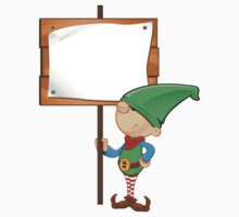 Elf Character - Holding Wooden Sign Kids Clothes