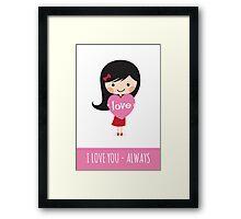Girl holding heart - I love you always Framed Print