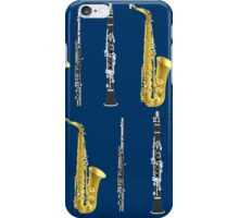 Musical Instruments on Royal Blue Background Christmas Gift Idea iPhone Case/Skin